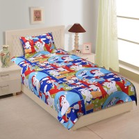 Spangle Cotton Printed Single Bedsheet(1 BEDSHEET, 1 PILLOW COVER, Blue)