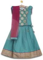 Aomi Girls Lehenga Choli Ethnic Wear Printed Lehenga, Choli and Dupatta Set(Green, Pack of 1)