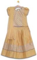 Aomi Girls Lehenga Choli Ethnic Wear Solid Lehenga, Choli and Dupatta Set(Yellow, Pack of 1)