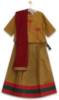 Aomi Girls Lehenga Choli Ethnic Wear Printed Lehenga, Choli and Dupatta Set(Yellow, Pack of 1)