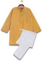 Aomi Boys Festive & Party Kurta and Pyjama Set(Yellow Pack of 1)