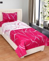 Amayra Cotton Striped Single Bedsheet(1 Single Bedsheet, 1 Pillow Cover, Red)