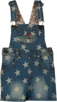 Beanie Bugs Dungaree For Girls Printed Denim(Blue, Pack of 1)