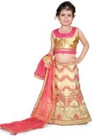 Sonika Girl's Lehenga Choli Ethnic Wear Embroidered Lehenga, Choli and Dupatta Set(Pink, Pack of 1)