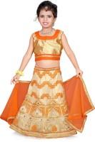 Sonika Girl's Lehenga Choli Ethnic Wear Embroidered Lehenga, Choli and Dupatta Set(Orange, Pack of 1)