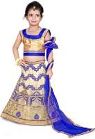 Sonika Girl's Lehenga Choli Ethnic Wear Embroidered Lehenga, Choli and Dupatta Set(Blue, Pack of 1)