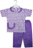 BownBee Kids Nightwear Boy's & Girl's Printed Cotton(Purple Pack of 1)