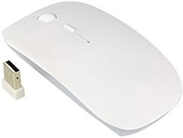 Gadget Deals White Sleek & Comfortable (Two batteries free) Wireless Optical Mouse(USB, White)