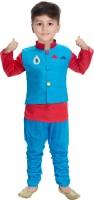 Arv Fashion Boys Festive & Party Kurta, Waistcoat and Pyjama Set(Blue Pack of 1)