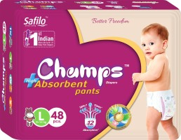 Champs champs High Absorbent Premium Pant Style Diaper | Premium Pant Diapers (Large, 48 Pieces) - L(48 Pieces)
