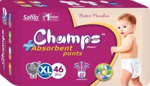Champs champs High Absorbent Premium Pant Style Diaper | Premium Pant Diapers (Extra Large, 46 Pieces) - XL(46 Pieces)