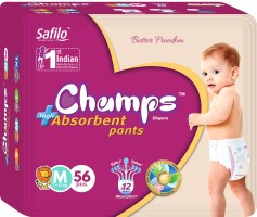 Champs champs High Absorbent Premium Pant Style Diaper | Premium Pant Diapers (Medium, 56 Pieces) - M(56 Pieces)