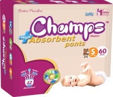Champs champs High Absorbent Premium Pant Style Diaper | Premium Pant Diapers (Small, 60 Pieces) - S(60 Pieces)
