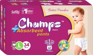 Champs champs High Absorbent Premium Pant Style Diaper | Premium Pant Diapers (Large, 34 Pieces) - L(34 Pieces)