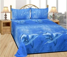 DURGA CREATION Cotton Printed Double Bedsheet(1 BEDSHEET WITH 2 PILLOW COVERS, Blue)