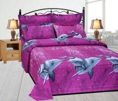 DURGA CREATION Cotton Printed Double Bedsheet(1 BEDSHEET WITH 2 PILLOW COVERS, Purple)
