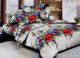 DURGA CREATION Cotton Floral Double Bedsheet(1 BEDSHEET WITH 2 PILLOW COVERS, Multicolor)