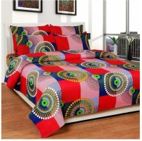 Rite Clique Polycotton Geometric Double Bedsheet(1 DoubleBedSheet, 2 PillowCover, Red)