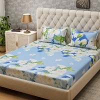 Bombay Dyeing Microfiber Floral Queen sized Double Bedsheet(2 Pillow covers, Blue)