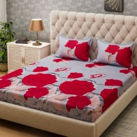 Bombay Dyeing Microfiber Floral Queen sized Double Bedsheet(2 Pillow covers, Red)