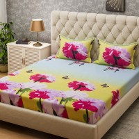 Bombay Dyeing Microfiber Floral Queen sized Double Bedsheet(2 Pillow covers, Green)