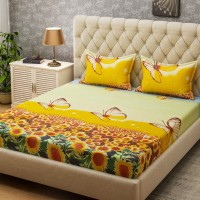 Bombay Dyeing Microfiber Floral Queen sized Double Bedsheet(2 Pillow covers, Yellow)