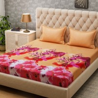 Bombay Dyeing Microfiber Floral Queen sized Double Bedsheet(2 Pillow covers, Pink)