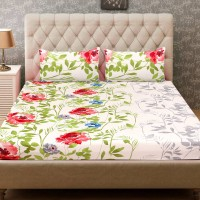 Home Harmony Polycotton 3D Printed Double Bedsheet(1 Double Bedsheet & 2 Pillow Cover, White)