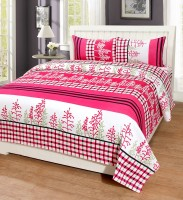 Home Harmony Polycotton 3D Printed Double Bedsheet(1 Double Bedsheet & 2 Pillow Cover, Pink)