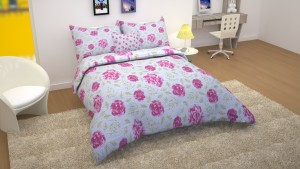 ATELIERHOME Cotton Floral King sized Double Bedsheet(1 Double Bedsheet with 2 Pillow Cover, Blue)
