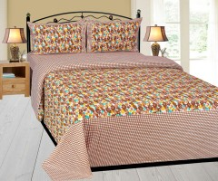 AKR CREATION Cotton Abstract Queen sized Double Bedsheet(1 QUEEN SIZED BEDSHEET WITH 2 PILLOW COVER, Brown)