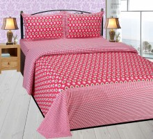 AKR CREATION Cotton Abstract Queen sized Double Bedsheet(1 QUEEN SIZED BEDSHEET WITH 2 PILLOW COVER, Pink)