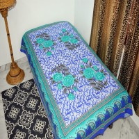 A One Collection Cotton Floral Single Bedsheet(1 Bedsheet, Blue)