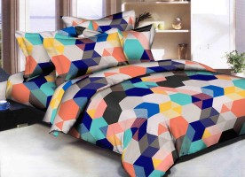 JMD HOME DÉCOR Cotton 3D Printed Double Bedsheet(1, Pink)