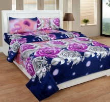 Home Harmony Polycotton 3D Printed Double Bedsheet(1 Double Bedsheet & 2 Pillow Cover, Blue)
