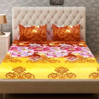Home Harmony Polycotton 3D Printed Double Bedsheet(1 Double Bedsheet & 2 Pillow Cover, Brown)