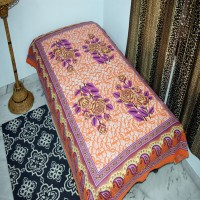 A One Collection Cotton Floral Single Bedsheet(1 Bedsheet, Orange)