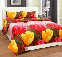 Raidiant Home Furnishing Polycotton 3D Printed Double Bedsheet(1 Double Bedsheet & 2 Pillow Cover, Red)