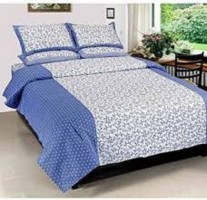 AKR CREATION Cotton Abstract Queen sized Double Bedsheet(1 QUEEN SIZED BEDSHEET WITH 2 PILLOW COVER, Blue)