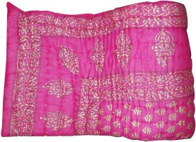 ASOKAM Floral Single Quilt Pink