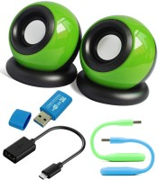 Anweshas 5 in 1 Combo of Mini Speakers for Tablet, PC, Desktop, MP3, MP4, Laptop With Card Reader, Otg Cable and Two set of Usb Led Combo Set(Multicolour)