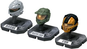 McFarlane Toys HALO Helmet 3PKs Series 1 - Set 3: Master Chief (Green),  Rogue (Silver), CQB (Orange)Multicolor