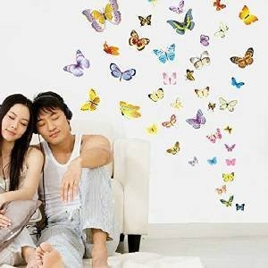 Amaonm R 50 Pcs Colorful Butterfly Wall Decal For Kids Room Bedroom Living Stickers Home Decor Heart