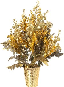 om potters a159 gold assorted artificial flower with pot 16 5 inch