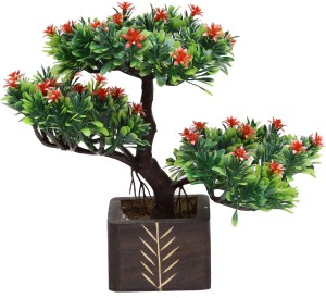 Random Bonsai Wild Artificial Plant  with Pot 23 cm, Multicolor