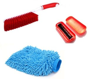 De AutoCare 3 in 1 Car Cleaning Kit of Multi-purpose Microfiber Gloves for washing, Carpet Cleaning Brush with Hard & Long Bristles, Magic Roller Seat Dust Clean Brush Combo