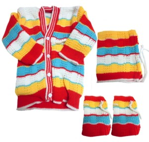 ef1ff0092e05 DCS New Born Baby Sweaters Cap and Socks Woolen Knitted Baby Set 0 6 ...