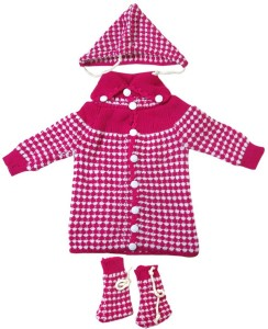 bcbc1d00c DCS Pink New Born Baby Sweaters Cap and Socks Woolen Knitted Baby ...