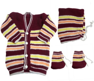 Dcs New Born Baby Sweaters Cap And Socks Woolen Knitted Baby Set 0 6