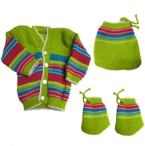0ffa4141d DCS Green New Born Baby Sweaters Cap and Socks Woolen Knitted Baby ...